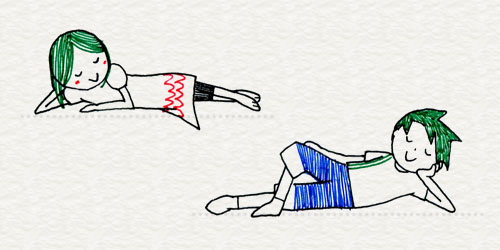 「横たわる」ポーズのイラスト