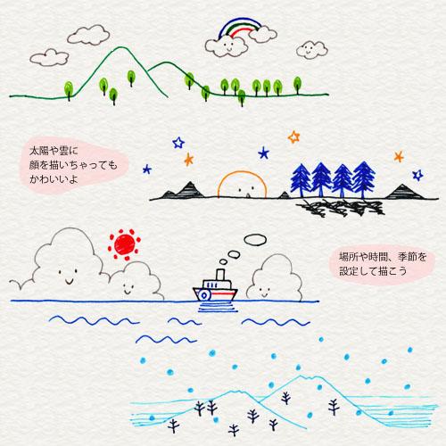 3 8 植物や風景を描こう 4色ボールペンでかわいいイラスト描けるかな